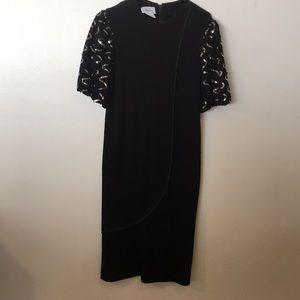 Black-Silver sequin Sleeve Party Dress pre-❤️ Sz14